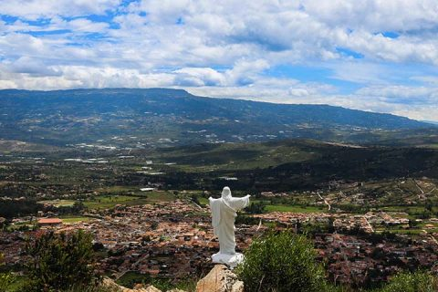 Jesus statue and landscape