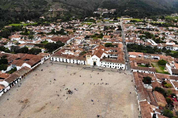 Drone photo of the main square of Villa de Leyva