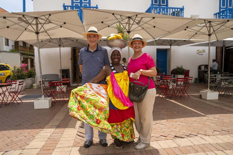 Couple at Cartagena with a local woman