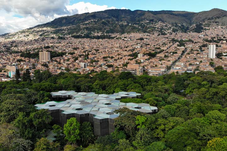 Drone photo of the Botanical Garden in Medellin Colombia