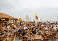 People at Café Del Mar Cartagena Colombia