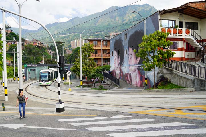 Graffiti wall and metro in Medellin