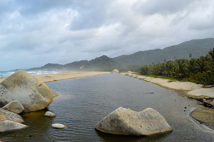 River and sea in Tayrona Park