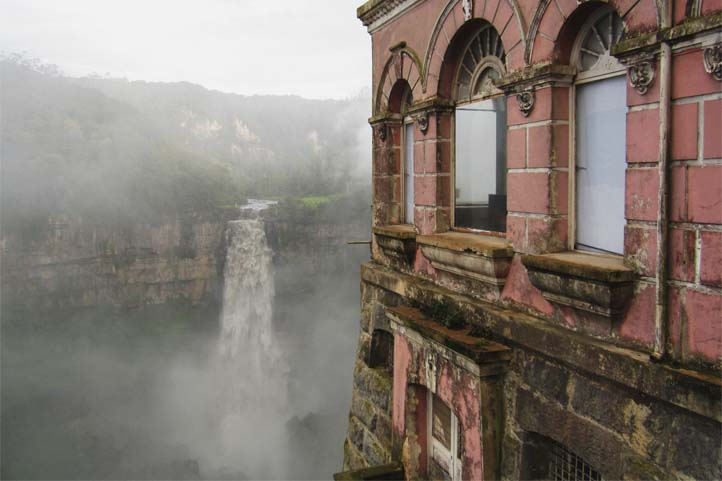 Hotel Tequendama in the front and the waterfall in the back