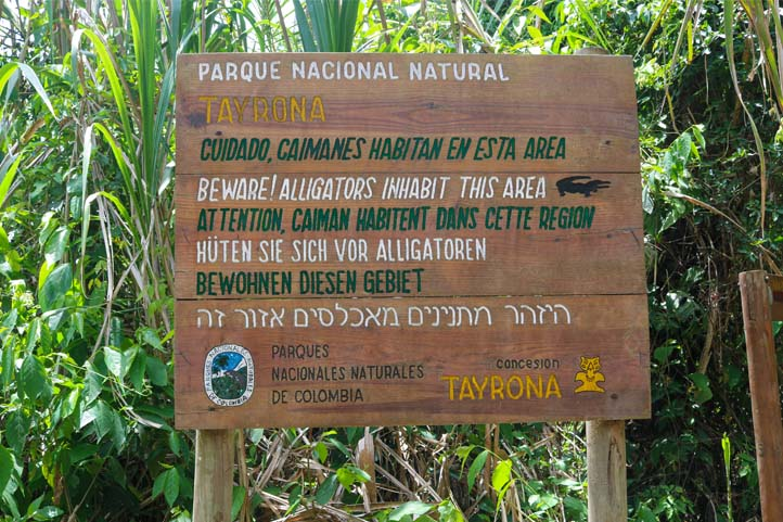 Wild animals warning sign in Tayrona Park