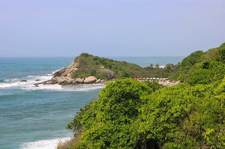 beach and mountains in the tayrona park