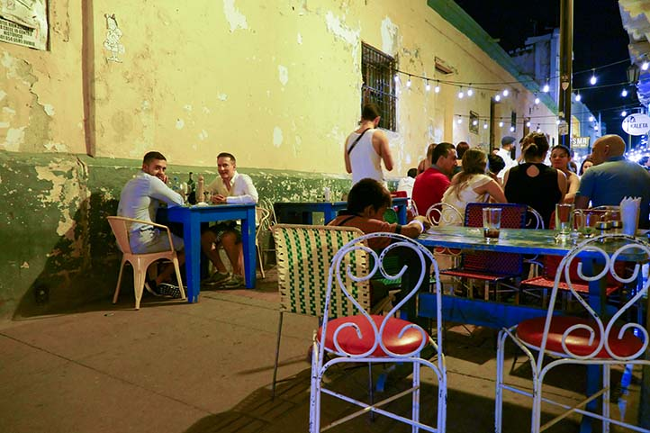 People having nightlife in the streets of Santa Marta