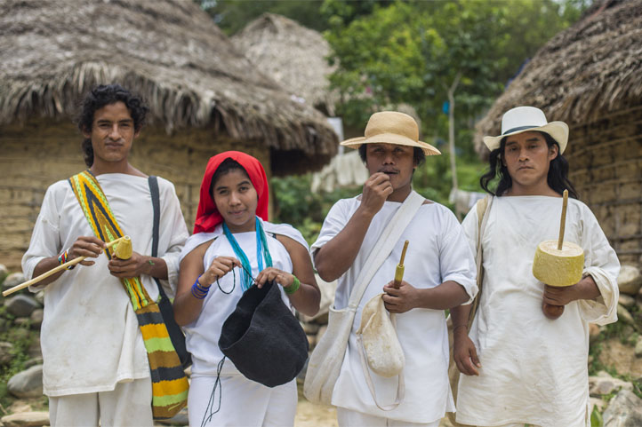 Four Wiwa people, indigenous tribe of Colombia